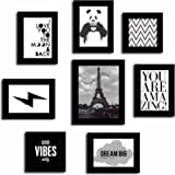 Art Street Positive Vibe Quote Wood Wall Photo Frame Set (Black, Set of 8)