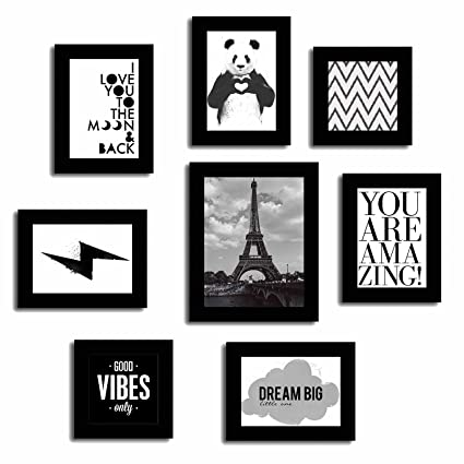 3ed1d5f11f6 Buy Art Street Set of 8 Quotes Mix Photo Frames-Theme Wall Quotes - You are  Amazing   Good Vibes Only   Dream Big   Love   Panda (Black) Online at Low  ...