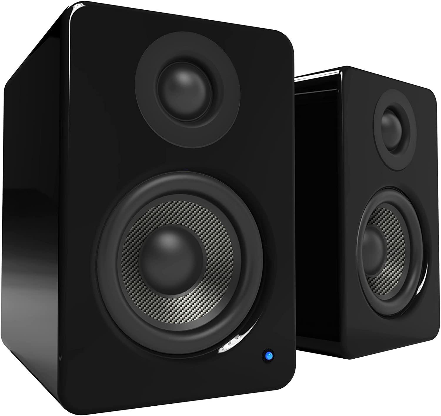 "Kanto 2 Channel Powered PC Gaming Desktop Speakers – 3"" Composite Drivers 3/4"" Silk Dome Tweeter – Class D Amplifier - 100 Watts - Built-in USB DAC - Subwoofer Output - YU2GB (Gloss Black)"