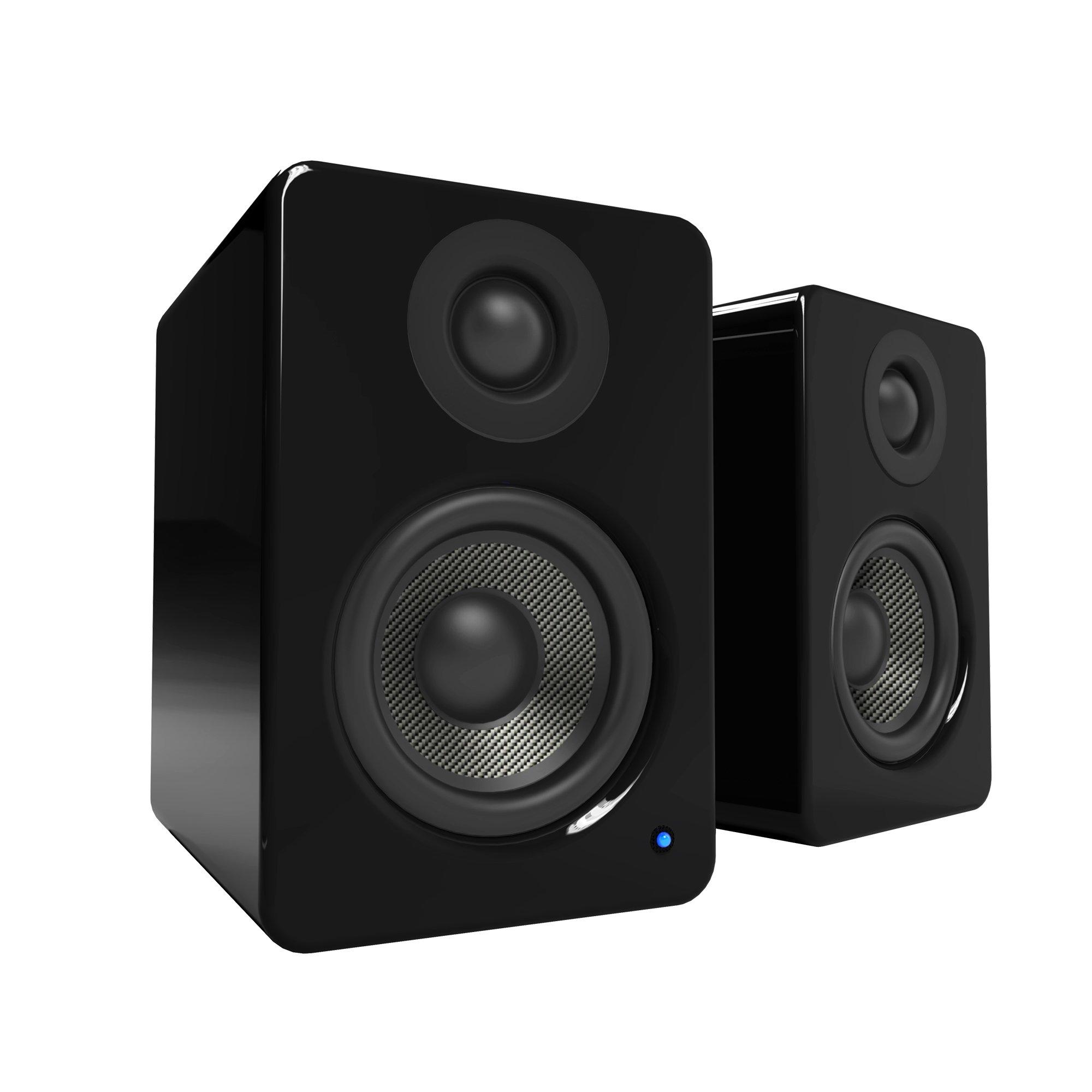 Kanto YU2 Powered Desktop Speakers – 3'' Composite Driver 3/4'' Silk Dome Tweeter – Gloss Black