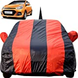 Autofact Car Body Cover for Hyundai Grand I10 with Mirror and Antenna Pocket (Light Weight, Triple Stitched, Heavy Buckle, Bottom Fully Elastic, Red Stripes with Navy Blue Color)