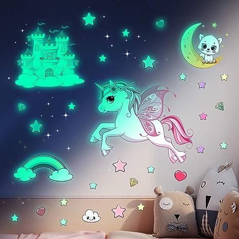 24 Unicorn Glow Bedroom Glow In The Dark Wall Stickers Kids