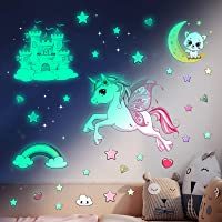 Glow in The Dark Stars Stickers for Ceiling,Unicorn Room Wall Decor for Girls Bedroom Decor,Kids Wall Stickers Unicorn…