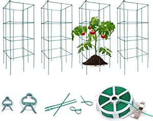 4 Packs 40 Inches Square Folding Tomato Cages Plant Support Stake Tower, Adjustable Garden Cages Tomato Plant Stakes, Multifunctional Tomato Trellis for Vertical Climbing Plants (Green)