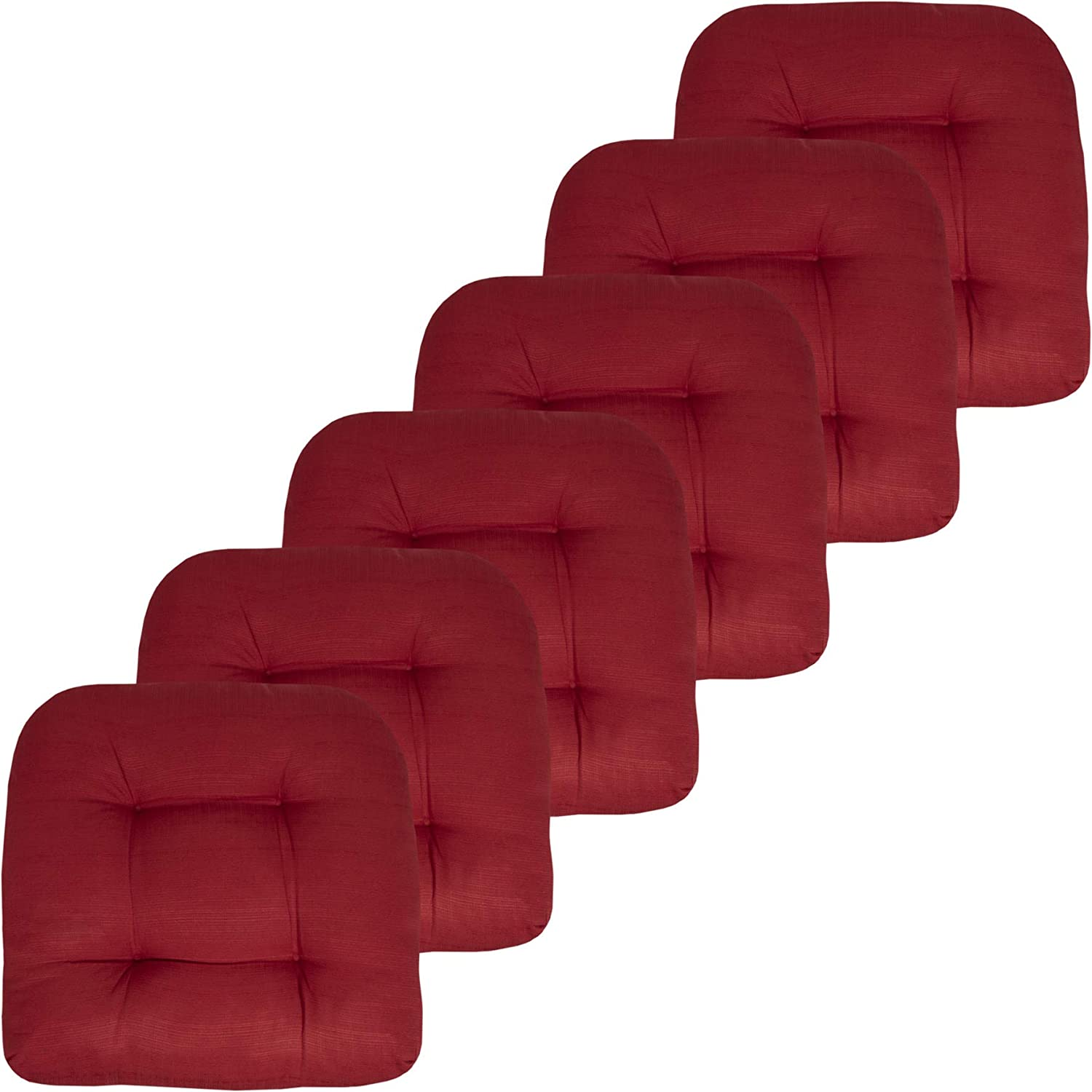 """Sweet Home Collection Patio Cushions Outdoor Chair Pads Premium Comfortable Thick Fiber Fill Tufted 19"""" x 19"""" Seat Cover, 6 Pack, Red"""