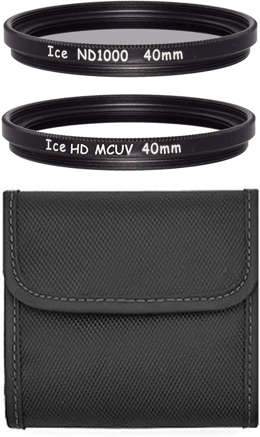 ICE 40mm Filter Set ND1000 /& UV Neutral Density ND 1000 40 10 Stop Optical Glass fits Fuji X10 X20 X30 X40 inc Wallet