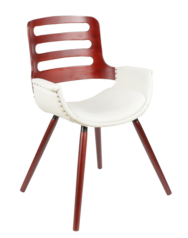 ts-ideen. Silla para comedor o cocina. Asiento en Blanco rojo + madera.
