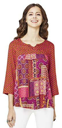 Global Desi Womens Body Blouse Top Ss17gs031tprypinkxl