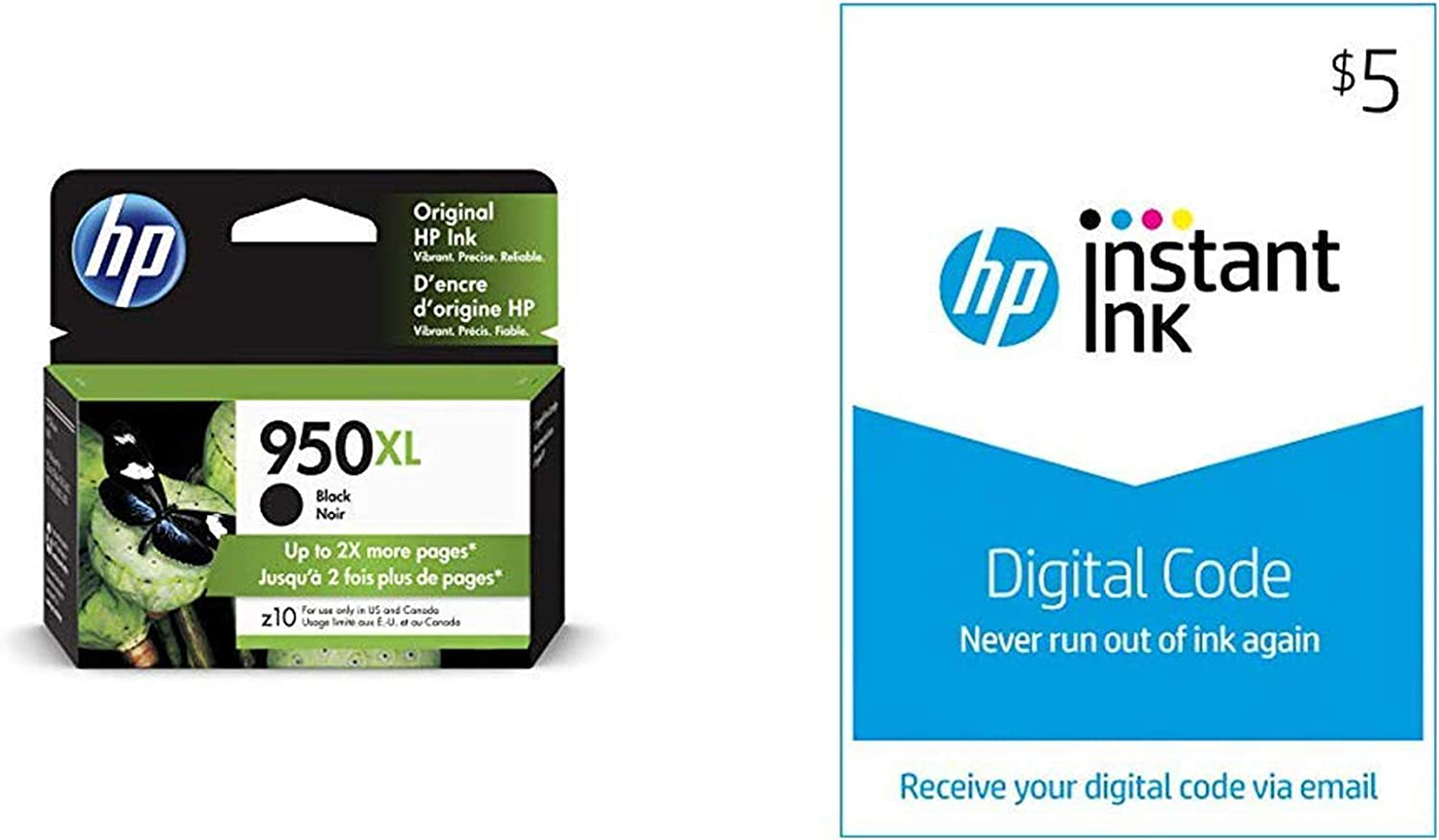 HP 950XL Ink | 1 Black Ink Cartridge | Plus $5 Instant Ink Prepaid Code