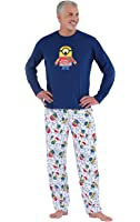 PajamaGram Officially Licensed Minion Holiday Fleece Men's Pajamas, Blue