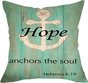 Softxpp Hope Anchors The Soul Nautical Throw Pillow Cover, Farmhouse Inspirational Quote Cushion Case Home Decorations, Summer Decorative Outdoor Square Pillowcase Decor for Sofa Couch 18 x 18 Inch