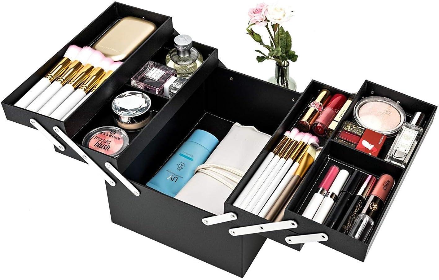 Maletín para Maquillaje de Uso Profesional Caja de Belleza con4Bandejas Extensibles Uso de Viaje: Amazon.es: Belleza