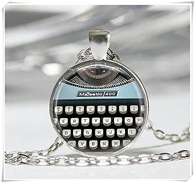 Azul collar de teclas de máquina de escribir teclas