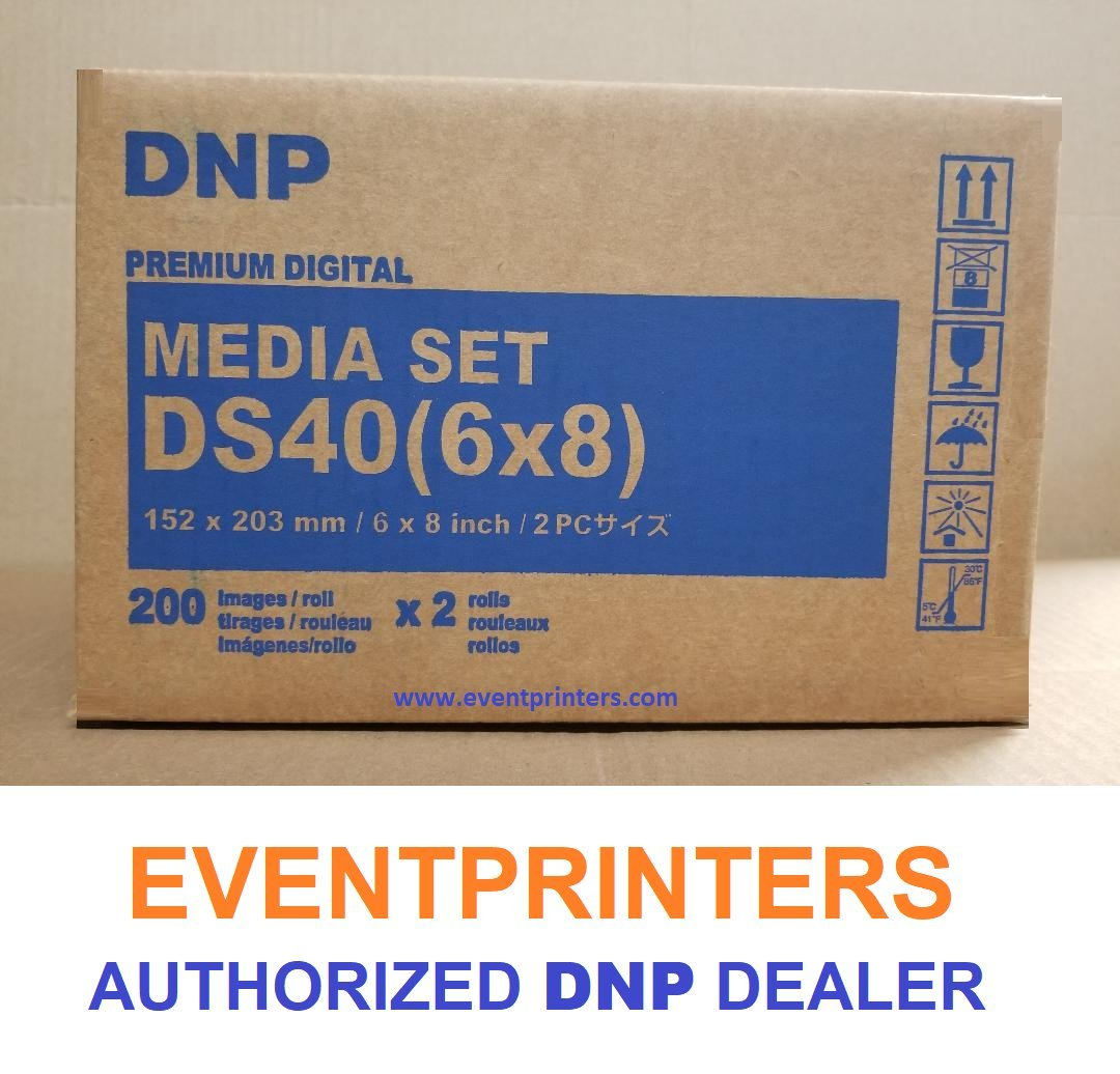 TWO BOXES OF DNP DS40 6X8'' PAPER & RIBBON MEDIA KIT FOR DS40 PRINTER (TOTAL OF 800 PRINTS). Comes with FREE SAMPLES of our best selling PHOTO FOLDERS ( EVENTPRINTERS BRAND ). by DNP and Eventprinters