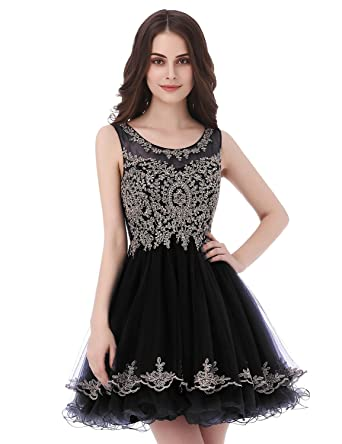 Belle House Black Tulle A Line Homecoming Dresses Short for Juniors 2018 Sheer Neck Party Prom