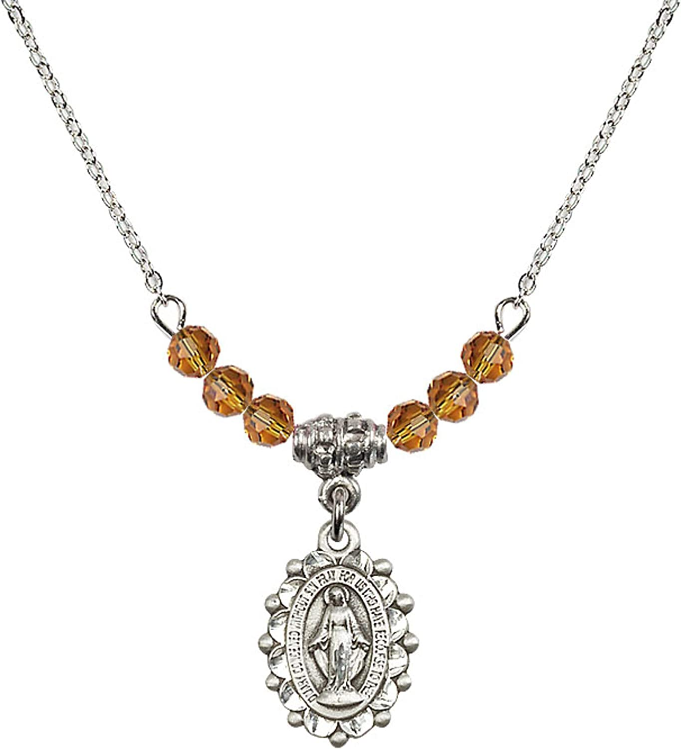 Bonyak Jewelry 18 Inch Rhodium Plated Necklace w// 4mm Yellow November Birth Month Stone Beads and Miraculous Charm
