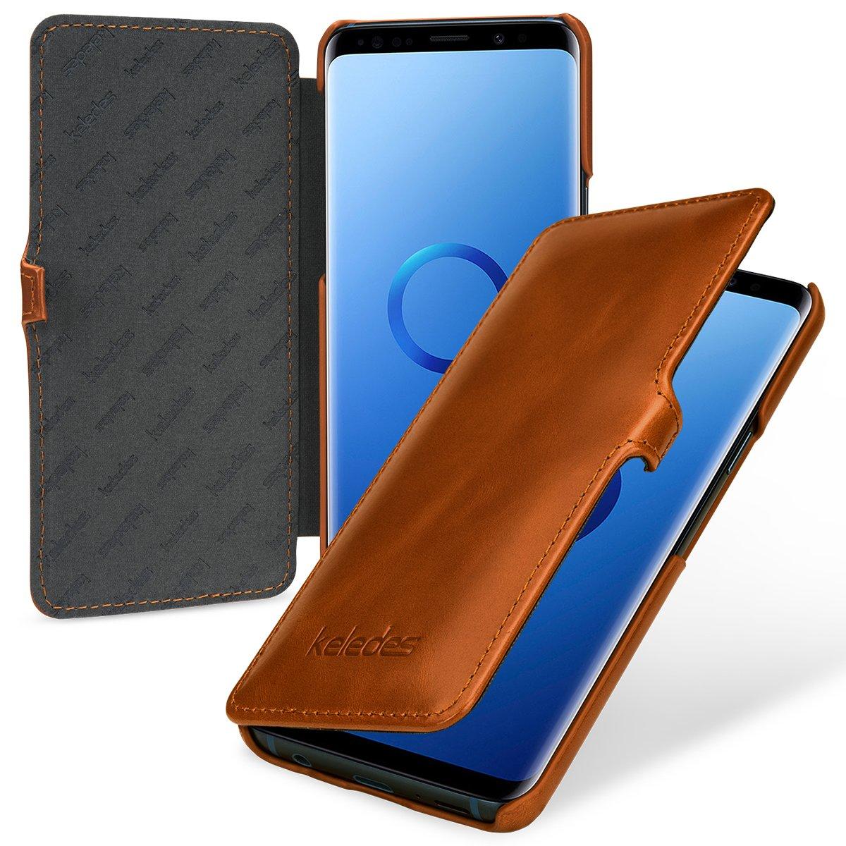 keledes Coque Samsung Galaxy S9, Ultra Mince Premium Étui de Protection à Rabat Portefeuille Housse en Cuir véritable [Porte-Cartes de Crédit] pour Samsung Galaxy S9, Cognac Marron SMS9MC2HGKEBR