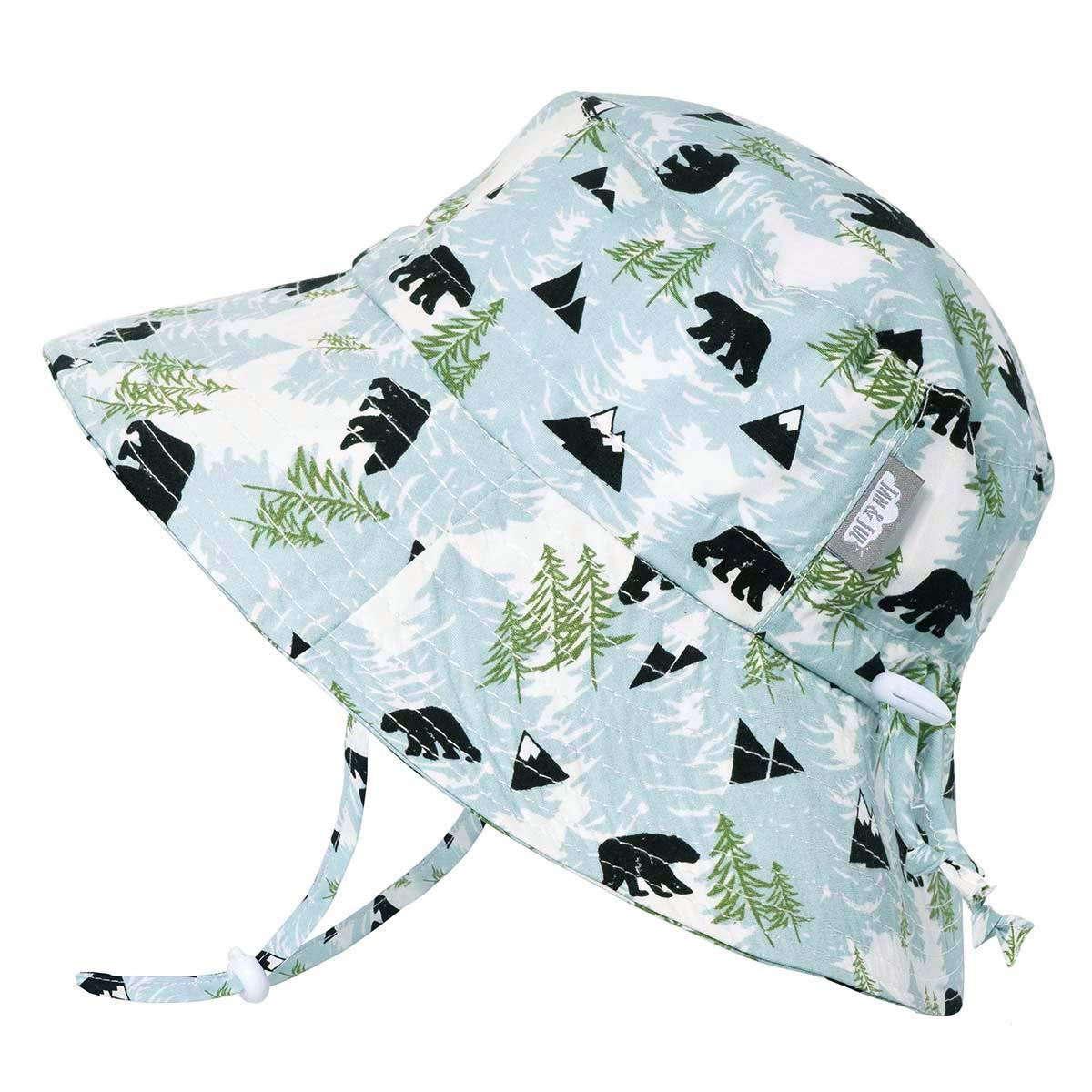 JAN & JUL Boys Breathable Bucket Style Sun Hat 50 UPF, Adjustable Strap, Foldable (XL: 5-12Y, Bear)
