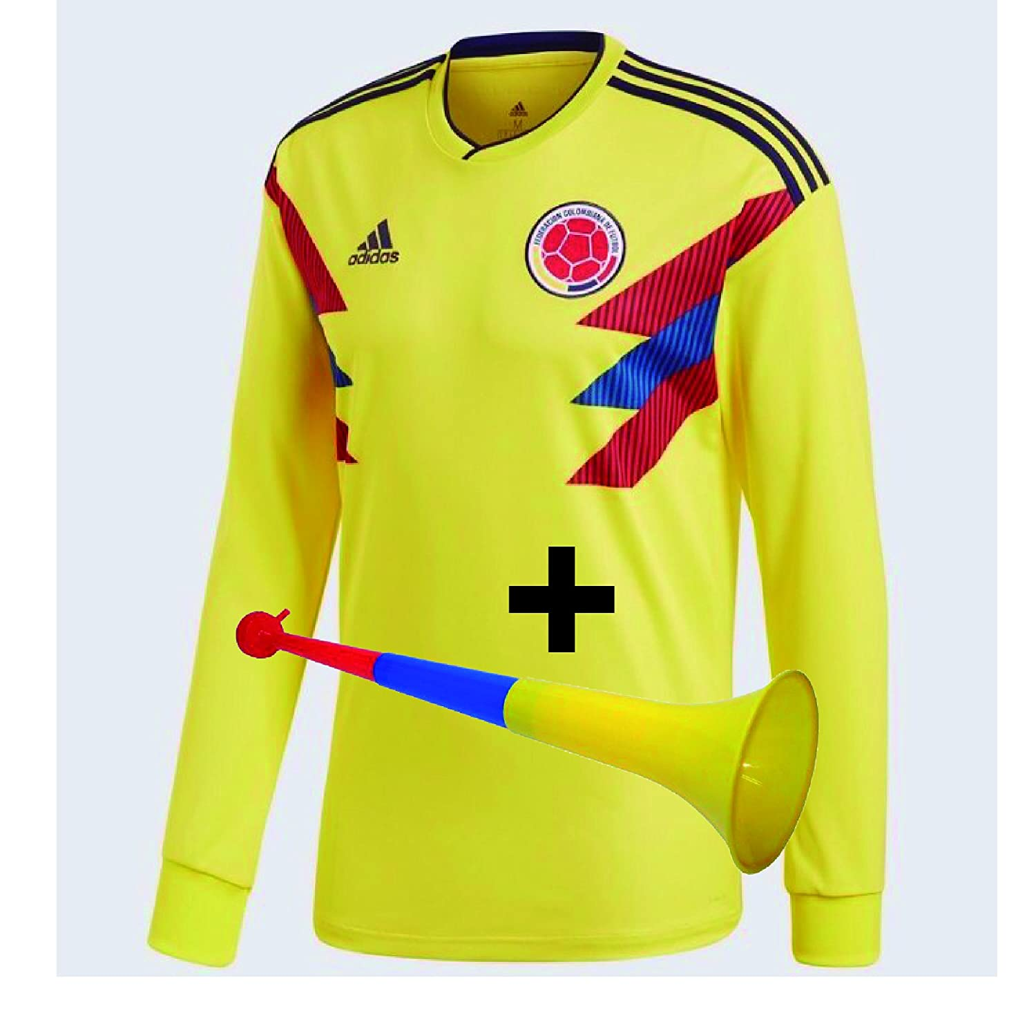 Camiseta seleccion Colombia manga larga replica y Corneta plastica (L) at Amazon Mens Clothing store: