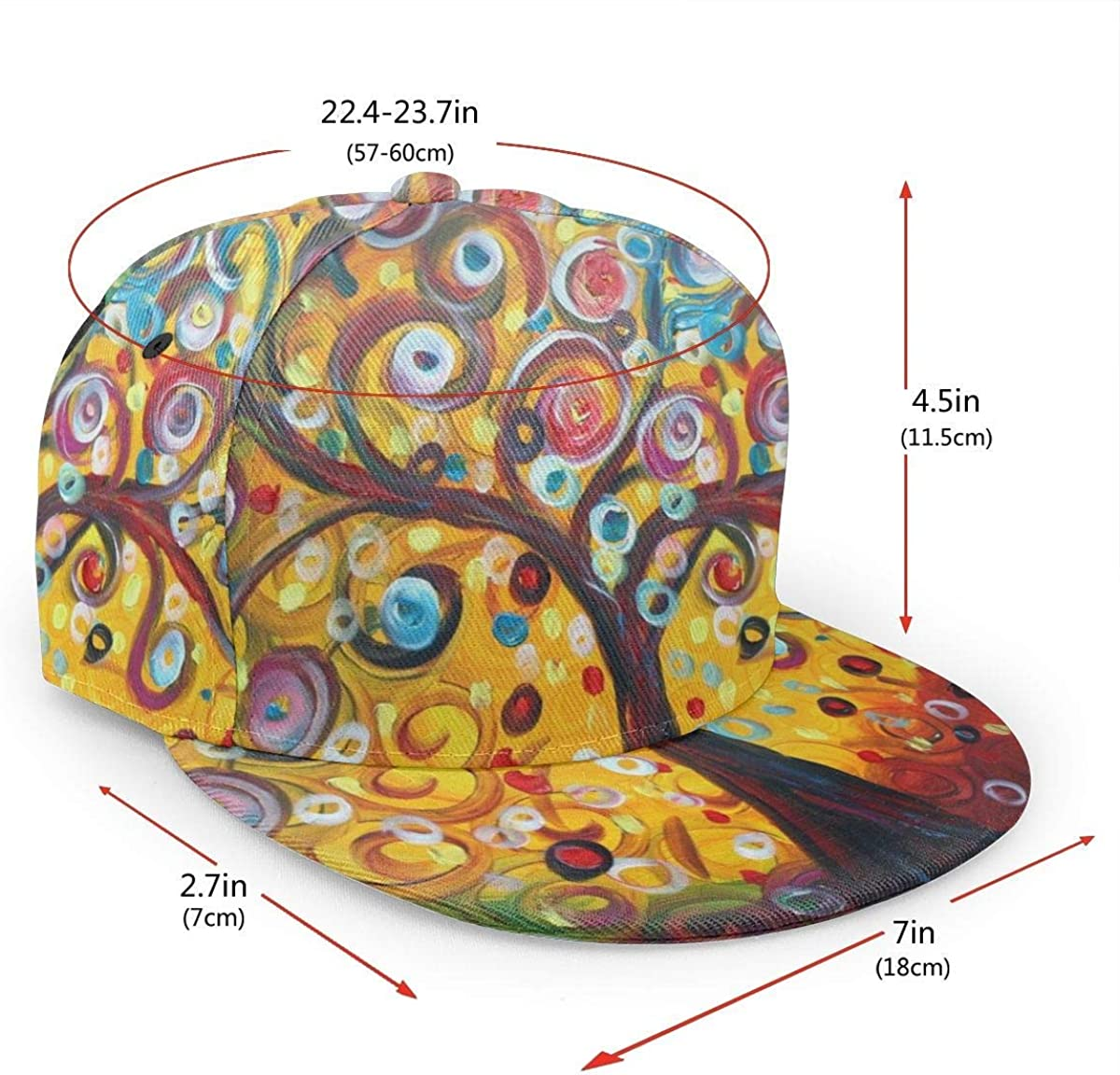 Tree Art Tree of Life Colorful Lightweight Unisex Baseball Caps Adjustable Breathable Sun Hat for Sport Outdoor Black