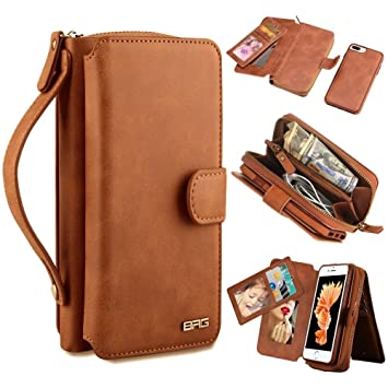 6b3fa4e543 Amazon | iPhone X ケース 手帳型 財布型カバー 分離式 高品質なレザー ...