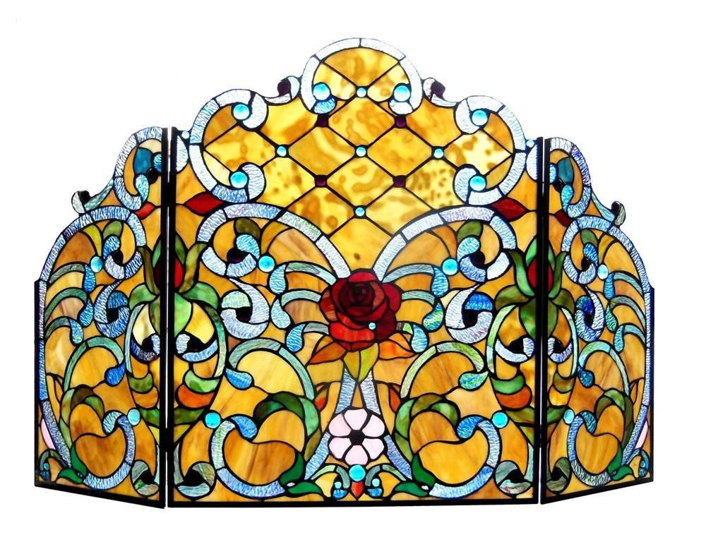 ROZE Tiffany-glass Rose 3pcs Folding Fireplace Screen 44x28