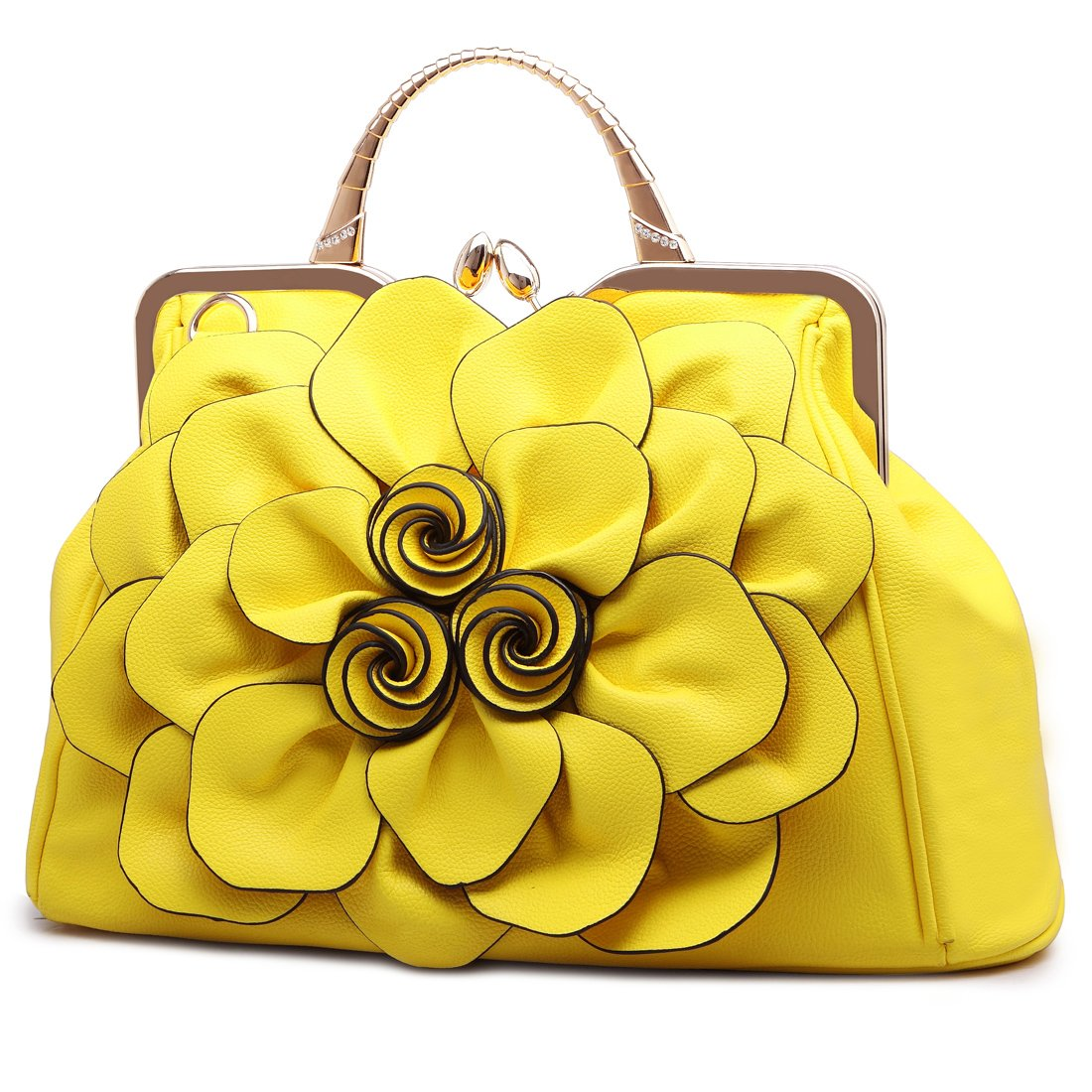 9156huang Women's Evening Clutches Handbags Wallets Wedding Totes Crossbody Bags