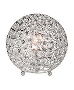 Elegant Designs LT1026-CHR Crystal Ball Table Lamp Gray
