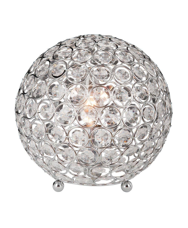 Elegant Designs LT1026-CHR Crystal Ball Table Lamp, 7.75'' x 7.75'' x 8''