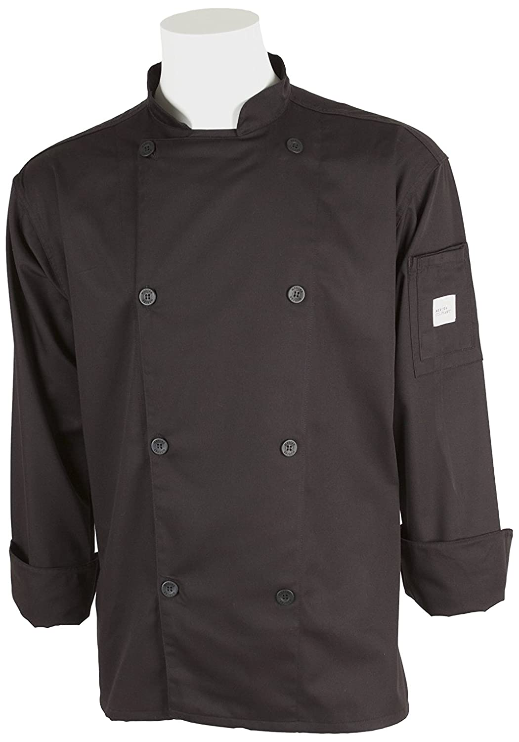 Mercer Culinary M61010BKM Genesis Mens Chef Jacket with Traditional Buttons Black Medium