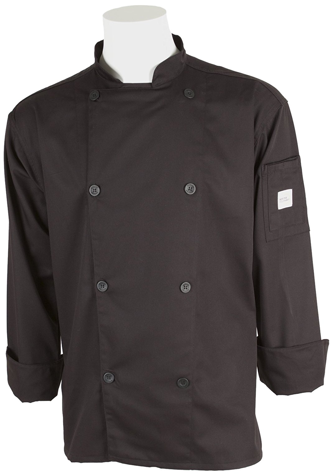 Mercer Culinary M61010BK4X Genesis Men's Chef Jacket with Traditional Buttons, 4X-Large, Black