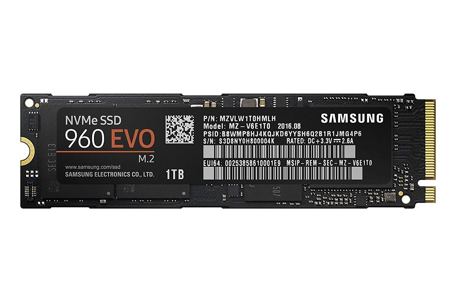 Amazon.com  Samsung 960 EVO Series - 1TB PCIe NVMe - M.2 Internal SSD  (MZ-V6E1T0BW)  Computers   Accessories 94ae5bccbe