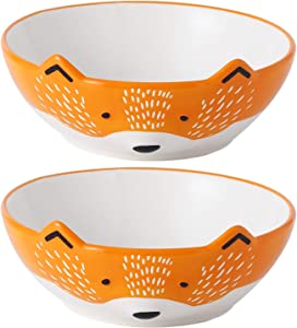 GoldenPlayer 3D Fox Ceramic Salad Bowl Cereal Bowl Pasta Bowls, 2pc 6inch Bowls Set for Soup Fruits - Orange and White