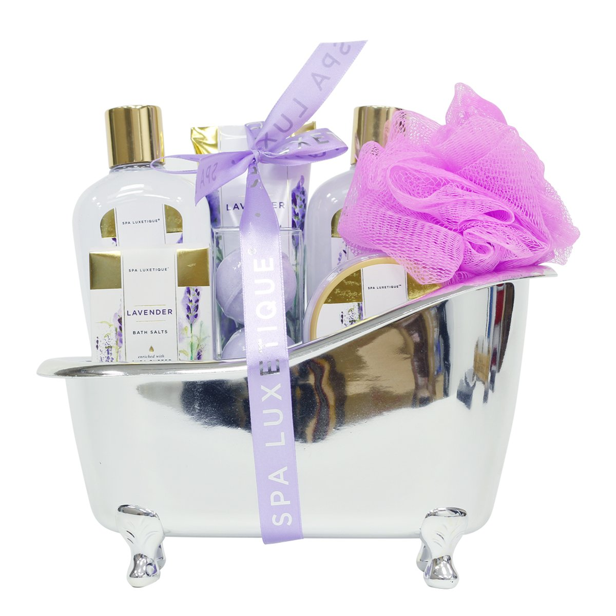 Spa Luxetique Lavender Bath Gift Set in Silver Bath Tub, Deluxe 8 pc Bath&Body Spa Treatment for Women, Spa Gift Basket for Christmas, Birthday, Mother's Day, Valentine's Day
