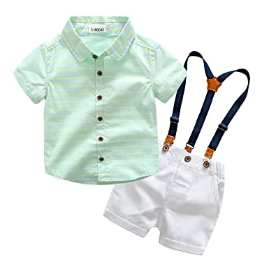da7d695c57f47 Kimocat Gentleman Suspender Outfits Suit for Toddler Boys 2Pcs Woven Shirt  and Shorts with Straps