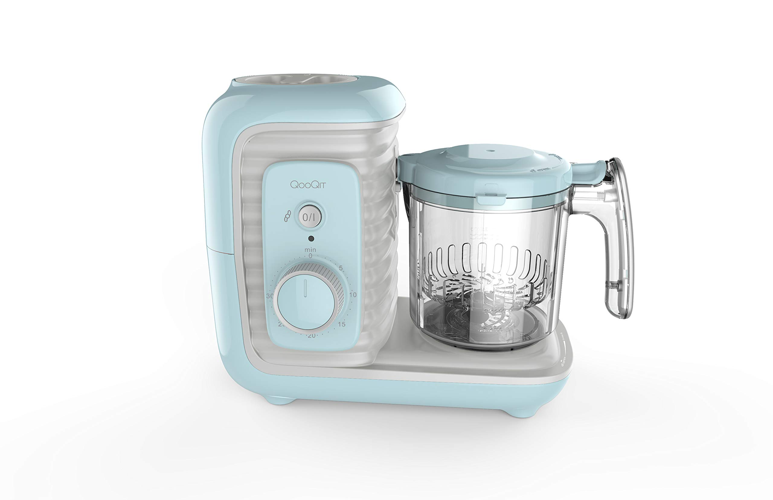 LuxxBaby QooQit 5 in 1 Baby Food Maker/Processor for Infants/Toddlers Organic Food Making Machine with Steam Cooker, Blender, Chopper, Defroster, Reheater, (Aqua Color)
