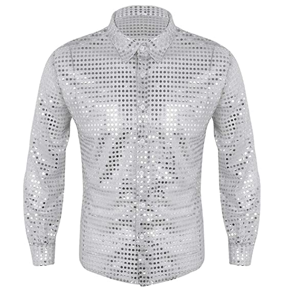 70s Costumes: Disco Costumes, Hippie Outfits ACSUSS Mens Shiny Sequined Mesh Top Disco Dance Shirt Dude Costume $19.65 AT vintagedancer.com