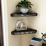 Home Sparkle Wall Shelf, Set of 2  Lacquer Finish, Black