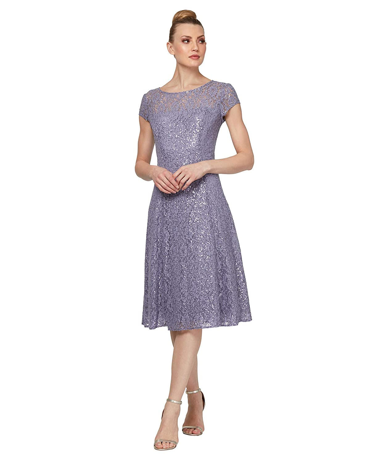 S.L Fashions Womens Lace and Sequin Fit and Flare Dress