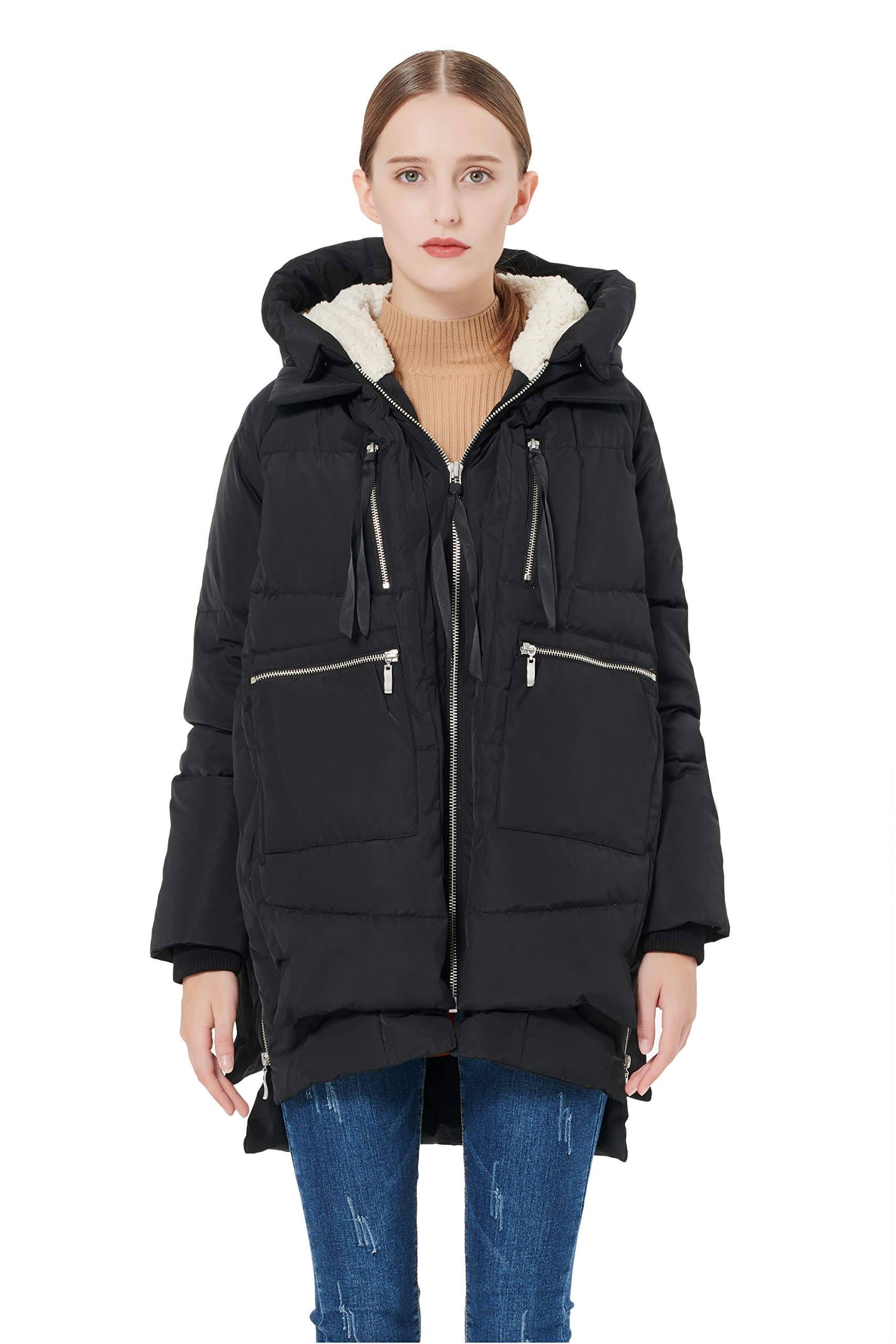 Orolay Women's Thickened Down Jacket Black 2XS