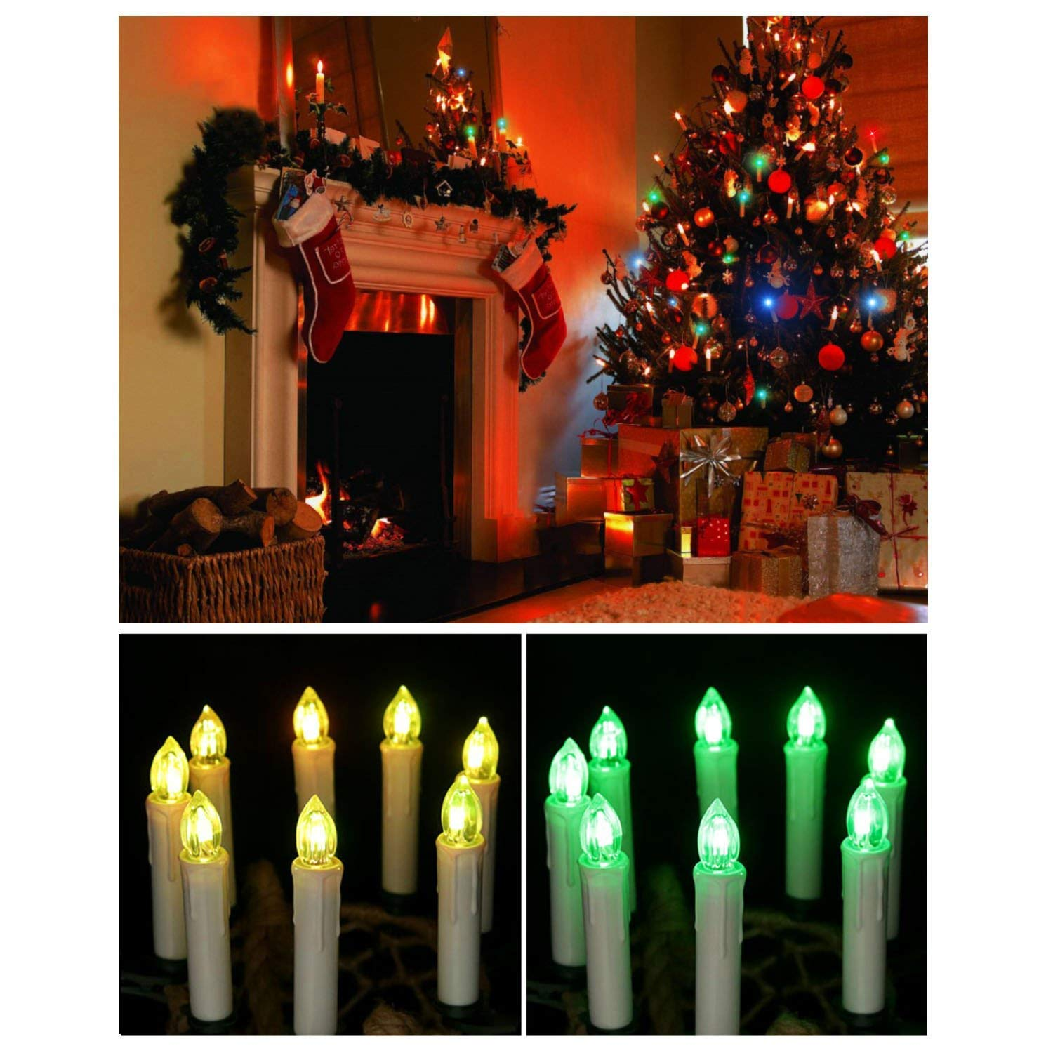 Amazon Alilyol 30PCS Christmas Tree LED Taper Candles with
