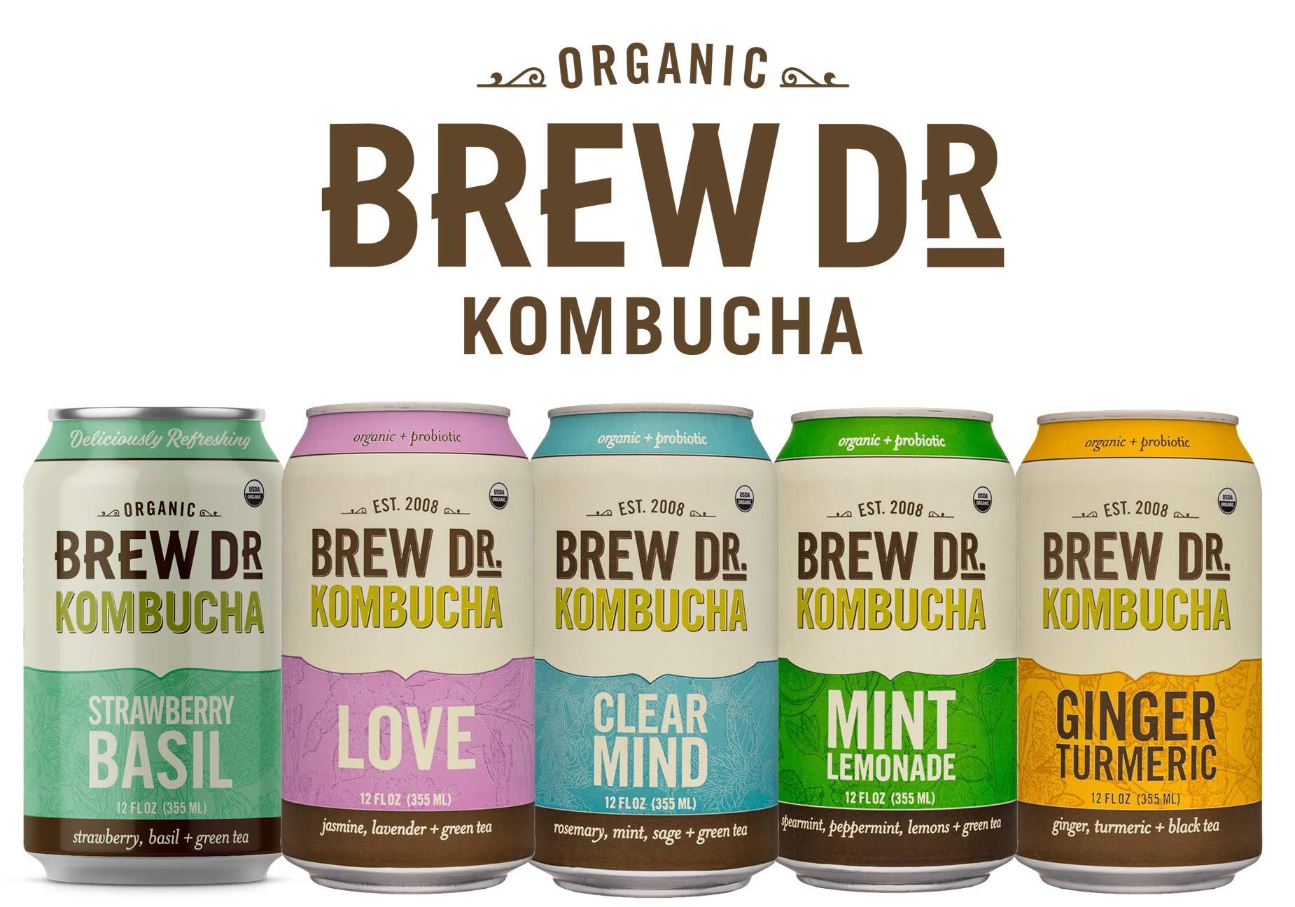Brew Dr/ Raw Organic Kombucha, 5 Flavor Variety Pack, 12 Fl oz Cans by Brew Dr.