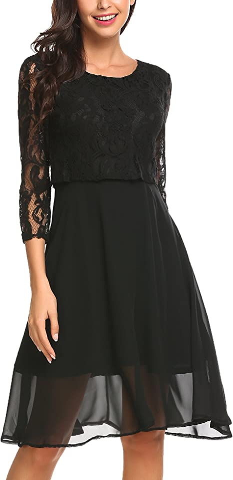 Damen Kleid Abendkleid Spitze Partykleid Brautjungfer kurz Chiffon Festlich L 38