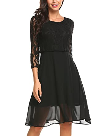 48485af10c8e2 Finejo Damen Elegant Chiffonkleid Abendkleid Cocktailkleid 3/4 Arm mit  Spitzen Ballkleid Party kleid A