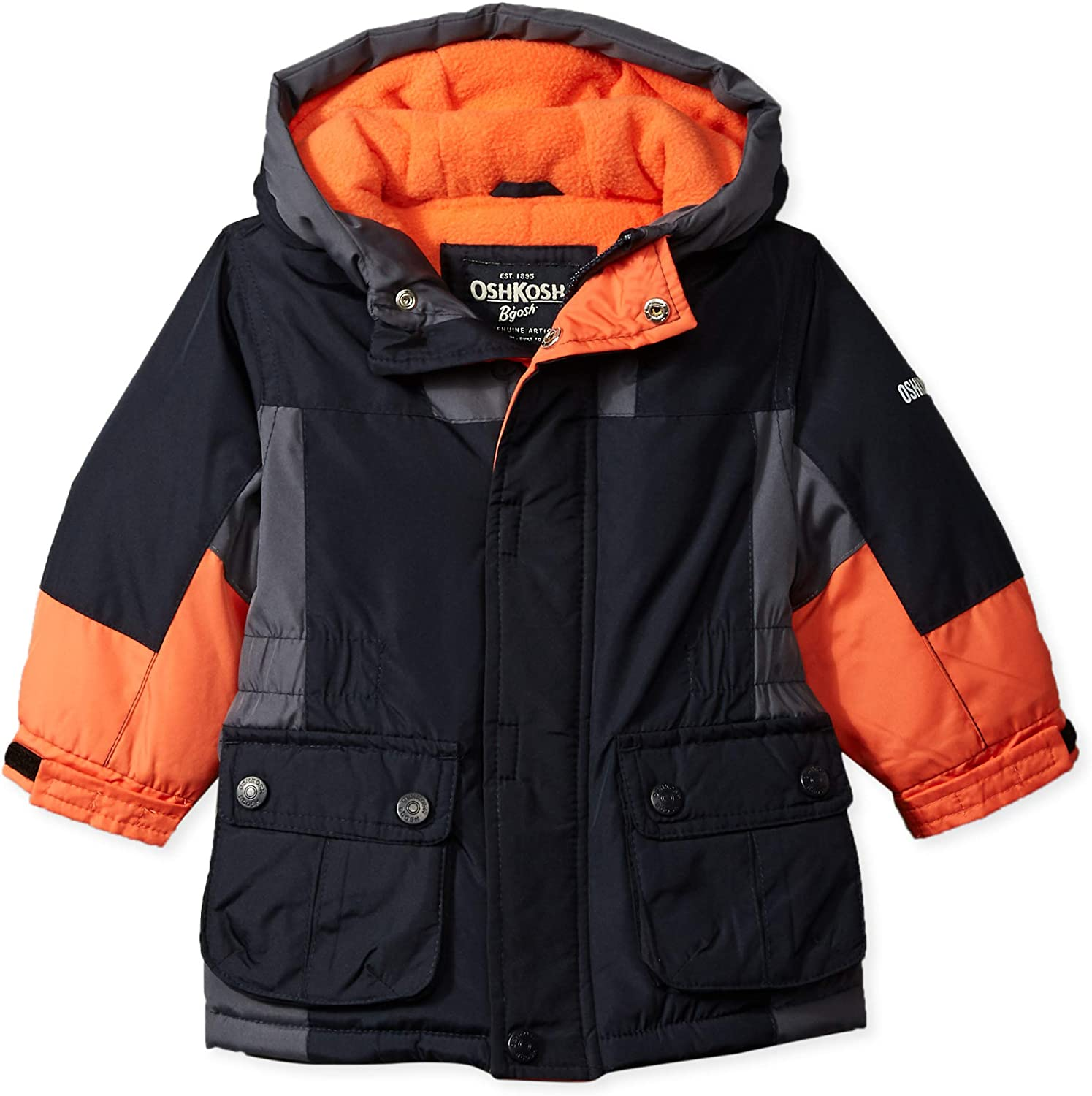 Osh Kosh B/'gosh Infant Boys Dark Grey /& Blue Puffer Coat Size 12M 18M 24M