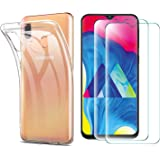 Abbeen Samsung Galaxy A30/A20 Case and Screen Protector,[3 in 1][Ultra-Thin] Crystal Transparent Soft Silicone TPU Case,for Samsung Galaxy A30/A20 Smartphone (Transparent)