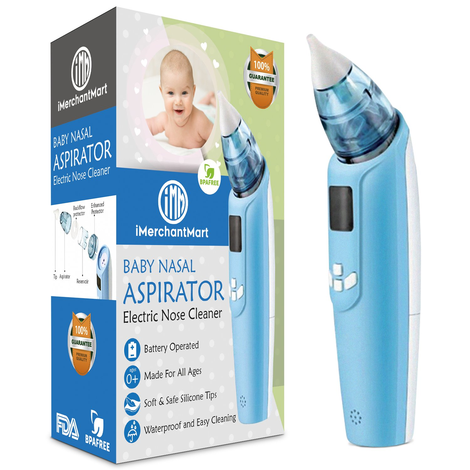Baby Nasal Aspirator - Safe Electric Battery Operated Nose Cleaner with Built-in Light, Music, LCD Screen, and 3 Levels of Suction Power | Snot Sucker with Nose Tips for Infants and Toddlers by iMerchantMart