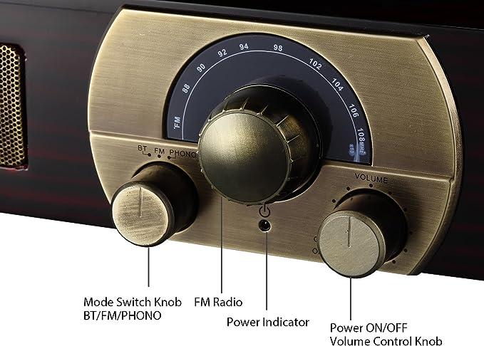 LuguLake Tocadiscos estéreo de 3 velocidades con altavoces ...