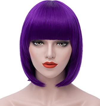 Women s Wigs Bob Wig - Purple Cosplay Wigs 12 quot  Short Straight Wig  Bangs Wig Synthetic 83397557e8