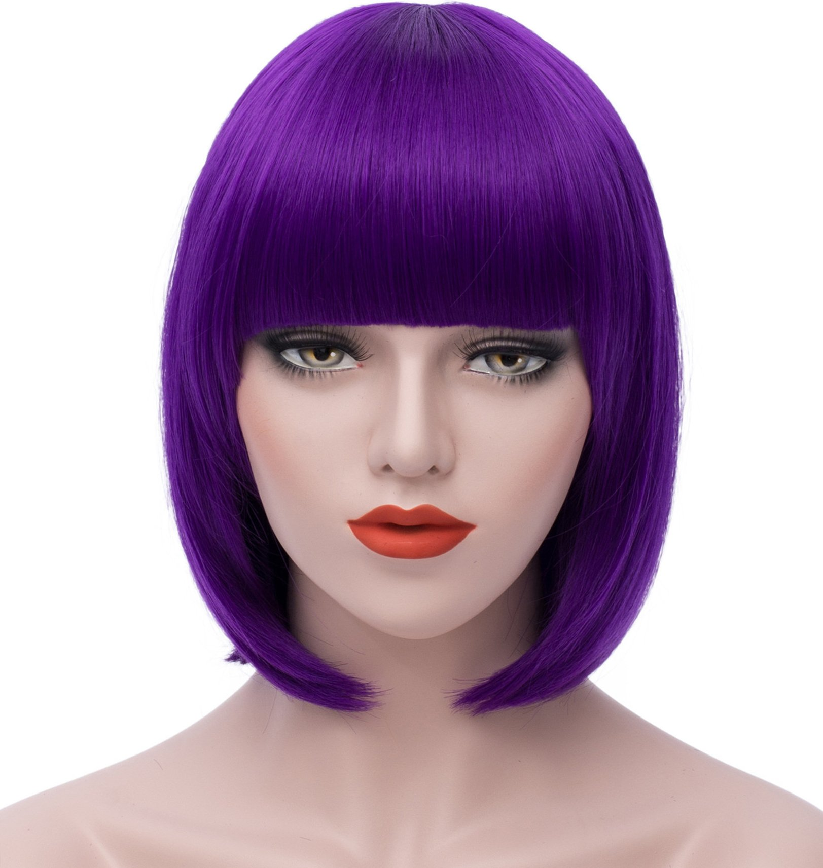 Women's Wigs Bob Wig - Purple Cosplay Wigs 12'' Short Straight Wig Bangs Wig Synthetic Wigs for Women S004PR